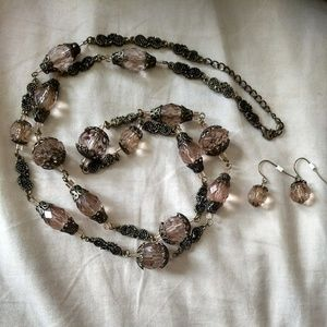 Jewelry - 20s glam long beaded necklace and earrings set
